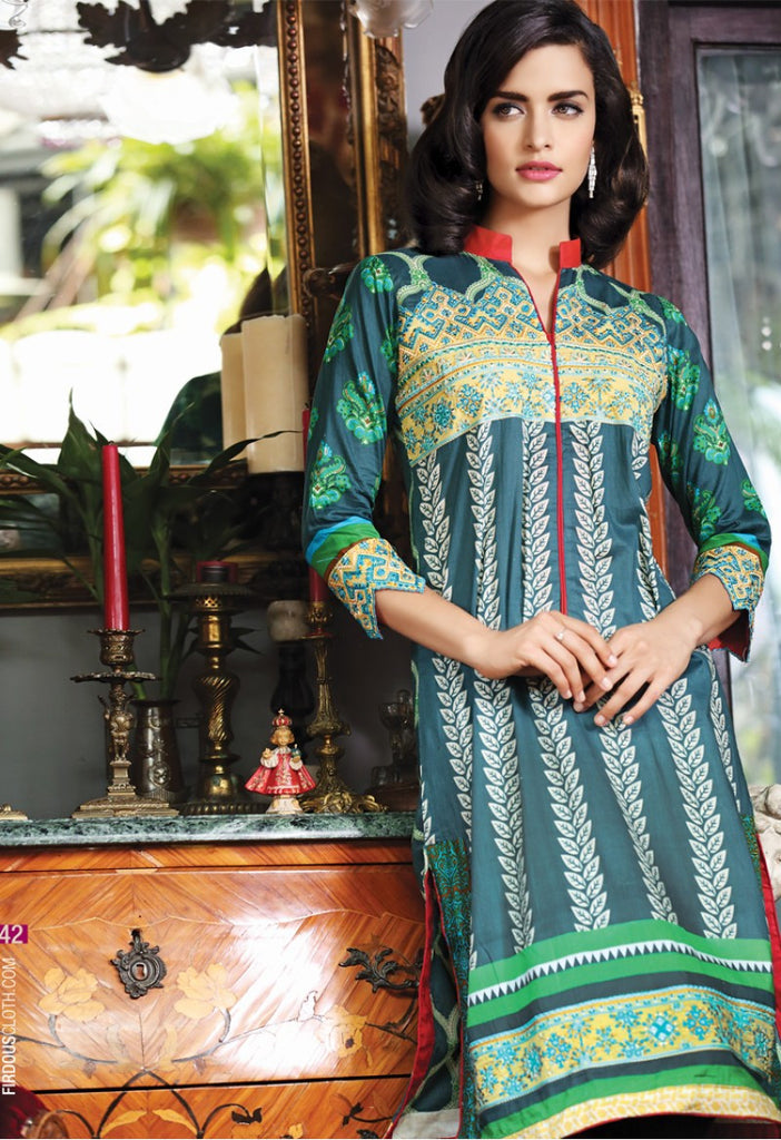 Firdous Embroidered Lawn Kurtis 2016 – 1B - YourLibaas  - 1