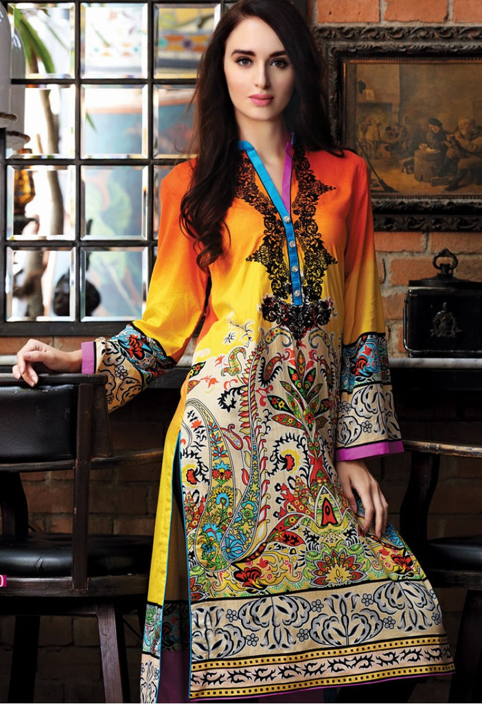Firdous Embroidered Lawn Kurtis 2016 – 7B - YourLibaas  - 1