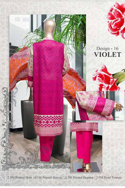 HZ Textiles Diamond Classic Lawn Collection Vol-2 – Design 16 Violet