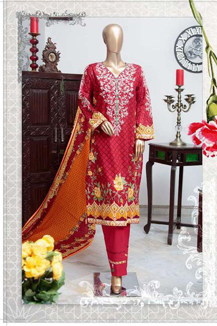 HZ Textiles Diamond Classic Lawn Collection Vol-2 – Design 17 Red