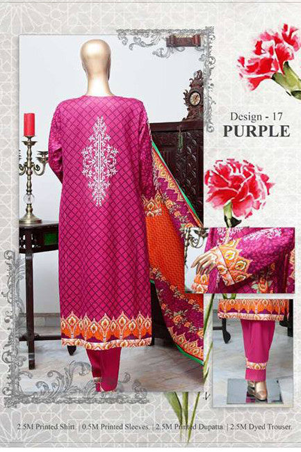 HZ Textiles Diamond Classic Lawn Collection Vol-2 – Design 17 Purple