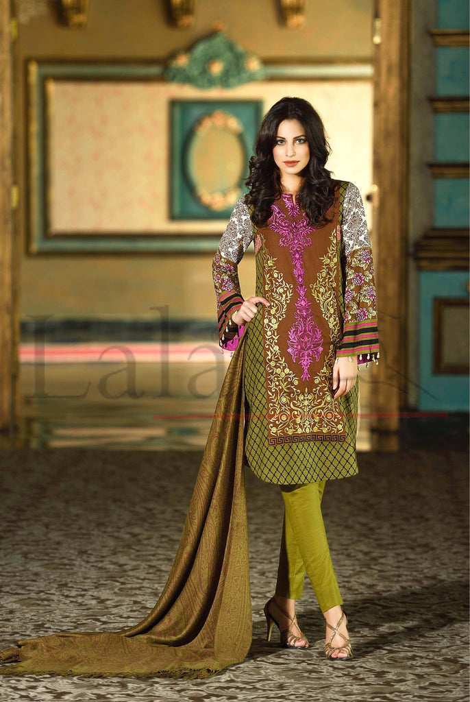 Lala Brocade Winter Collection With Woolen Shawl - BR12 - YourLibaas