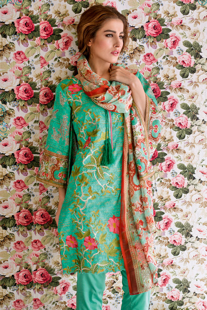 Feminine Embroidered Lawn Collection 2017 – 1B