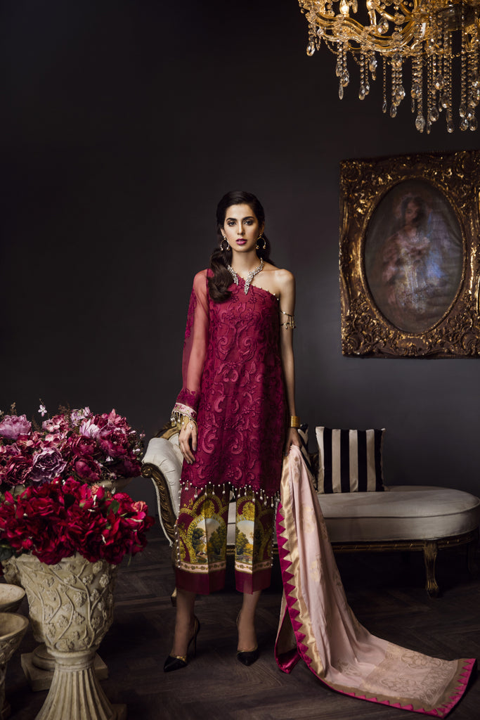 Saadia Asad Luxury Formals 2018 – 04 Royal Ruby