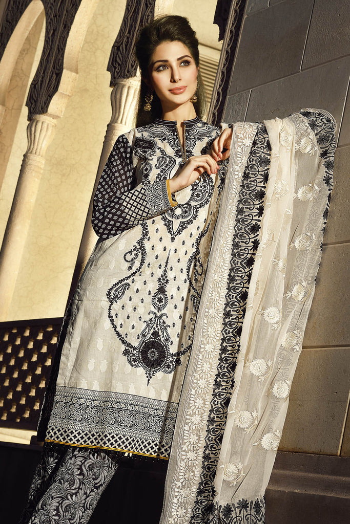 Gul Ahmed Summer 2017 - Off White 3 PC Premium Embroidered Chiffon Dress PM-162