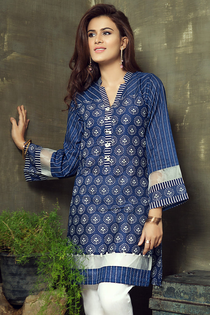 Gul Ahmed Summer 2017 - Navy 1 PC Printed Lawn Single SL-261 A