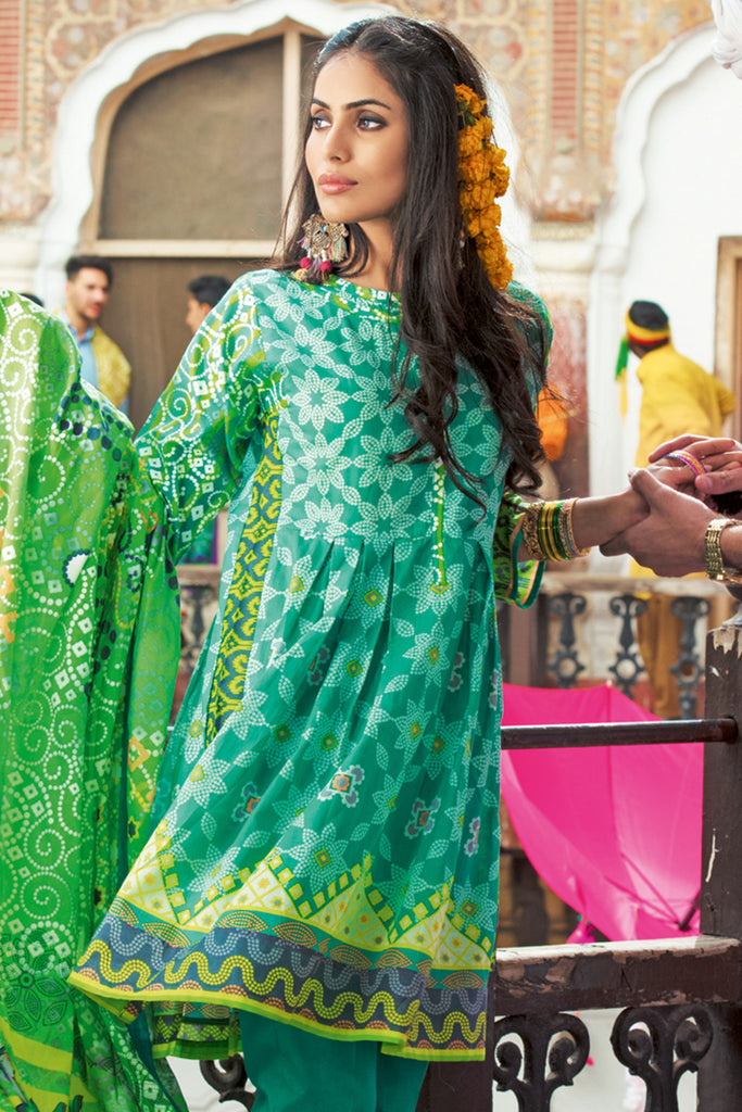 Gul Ahmed Summer 2017 - Green 3 PC Printed Lawn Dress CL-248 B