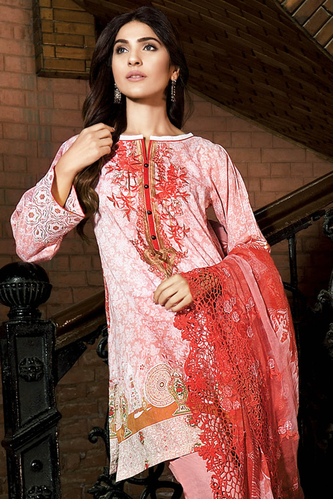 Gul Ahmed Summer 2017 - Peach 3 PC Embroidered Chantilly De Lace Dress CT-204