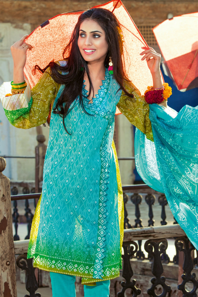 Gul Ahmed Summer 2017 - Turquoise 3 PC Printed Lawn Dress CL-232 B