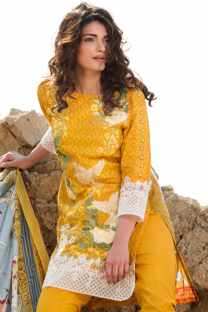 Gul Ahmed Summer 2017 - Yellow 3 PC Trencia Satin Silk Dress SS-150