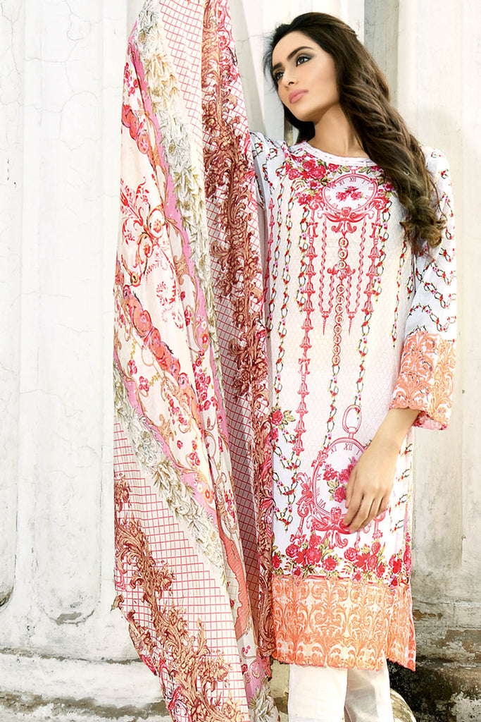 62702b2b0c Gul Ahmed Off White 3 PC Embroidered Trencia Satin Silk Dress SS-135 –  Pakistani Lawn Suit – YourLibaas