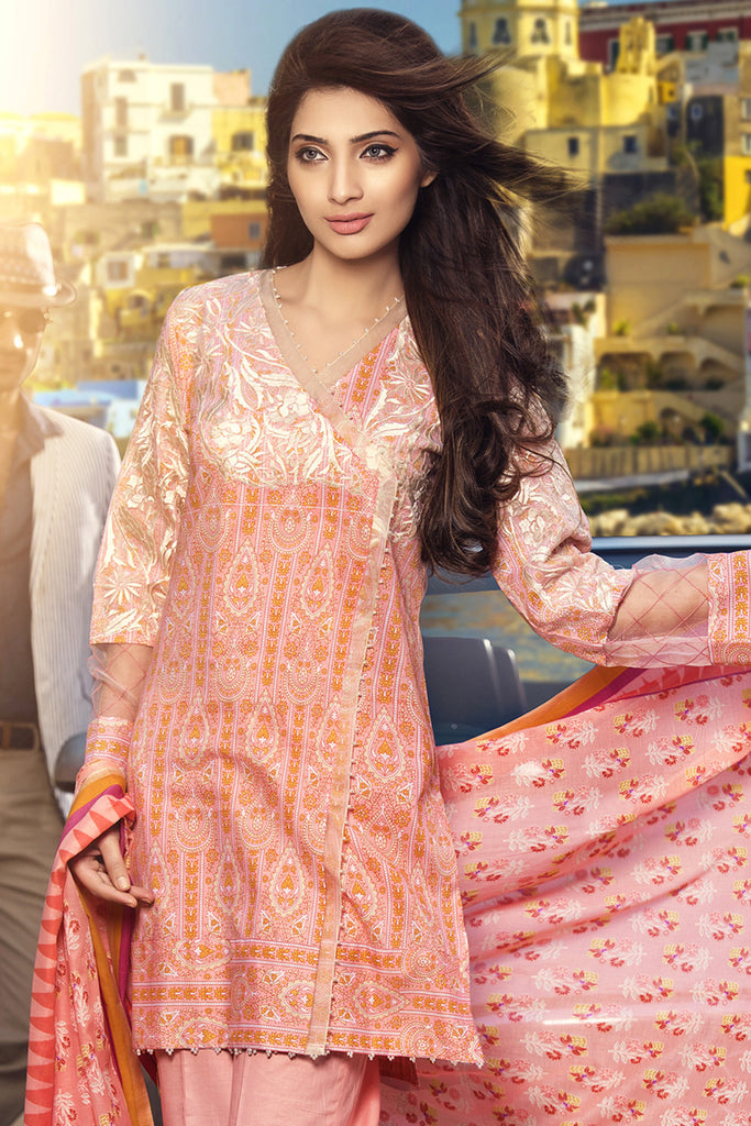 Gul Ahmed Summer 2017 - Peach 3 PC Embroidered Lawn Dress CL-202 B