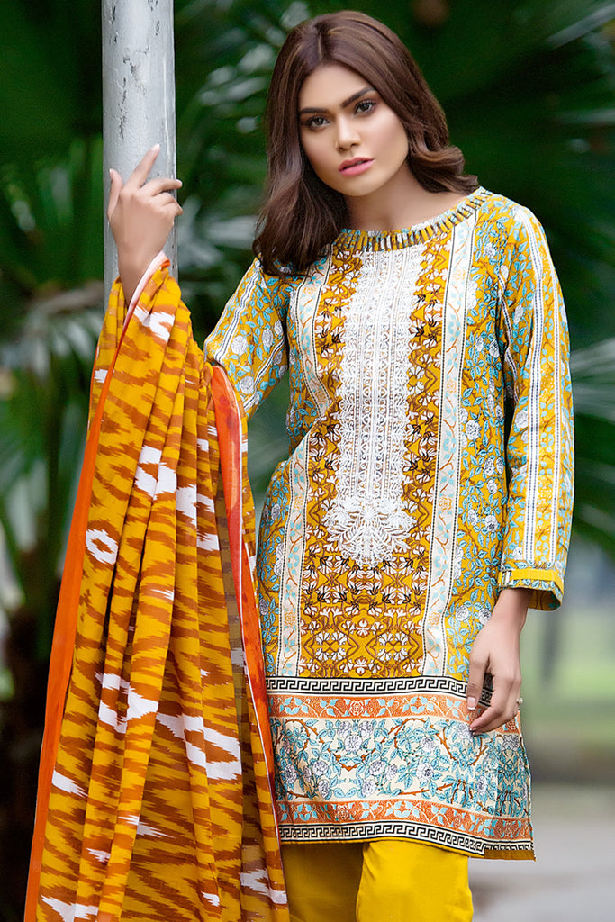 Gul Ahmed Summer 2017 - Yellow 3 PC Embroidered Lawn Dress CL-250 B