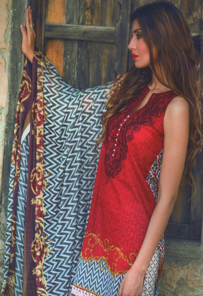 Mina Hasan Designer Lawn Collection 2016 –  1A - YourLibaas  - 1