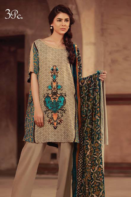 Sana & Samia Embroidered Linen Plachi Collection by Lala – Pistachu - 1A - YourLibaas  - 1