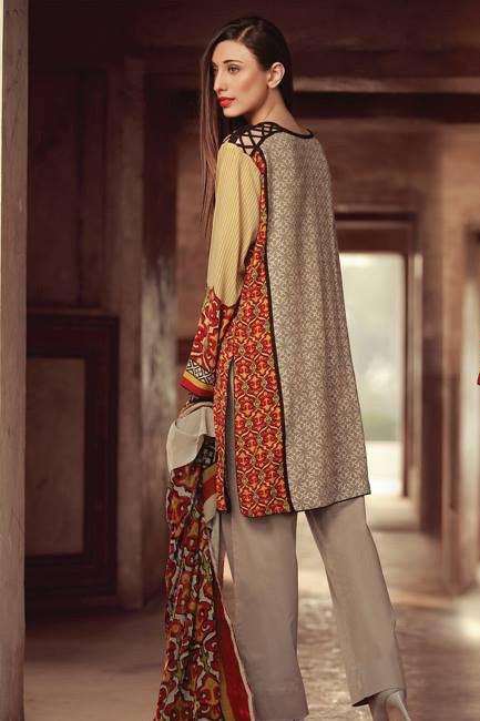 Sana & Samia Embroidered Linen Plachi Collection by Lala – Oatmeal - 1B - YourLibaas  - 1