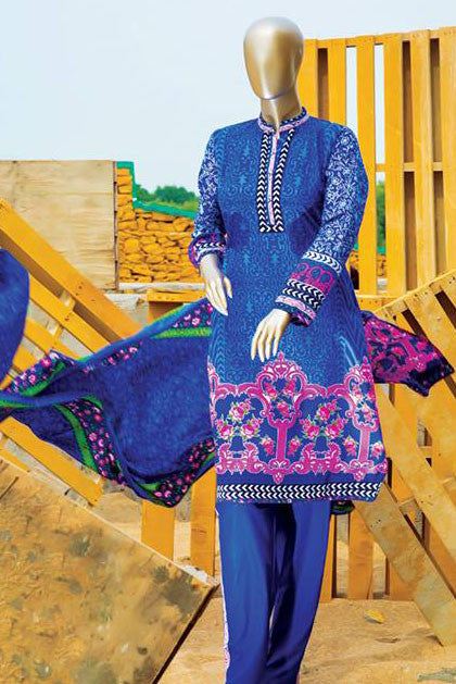 HZ Textiles Diamond Classic Lawn Collection – Design 20 Mid Blue