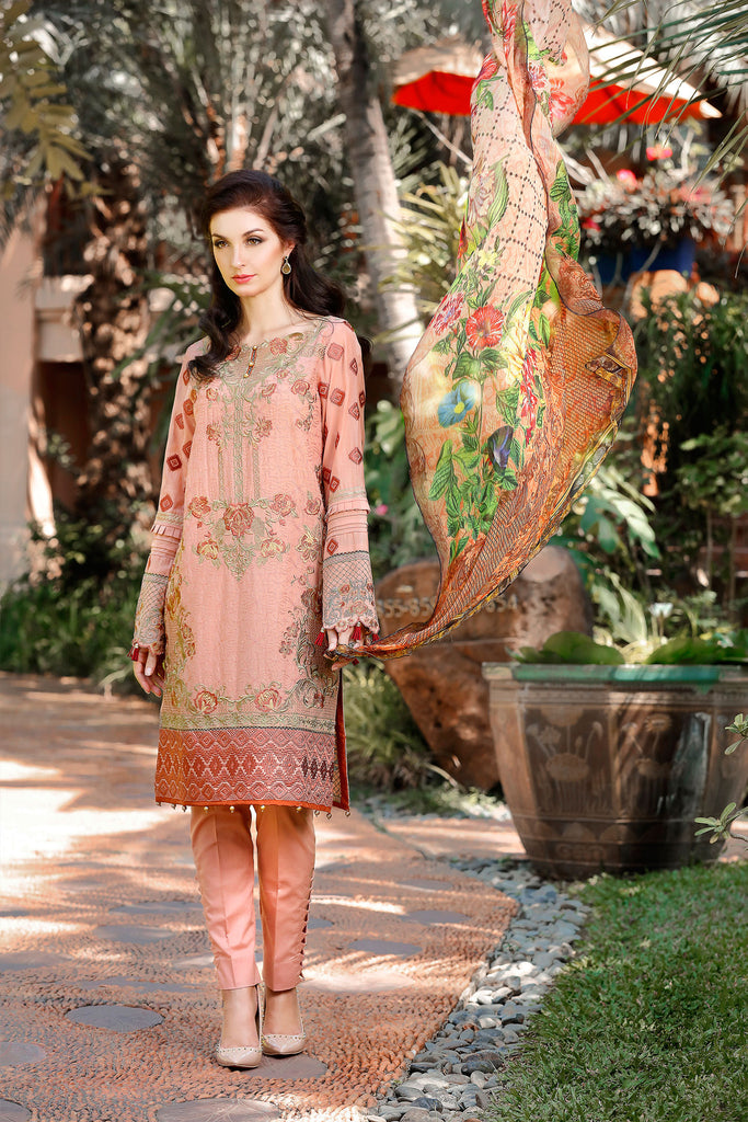 Baroque Embroidered Swiss Collection 2017 – Coral Print