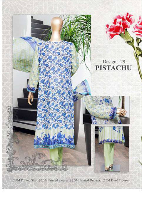 HZ Textiles Diamond Classic Lawn Collection Vol-2 – Design 29 Pistachiu
