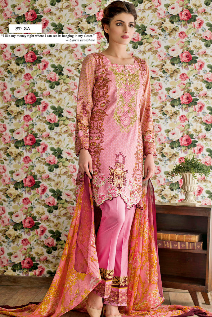 Feminine Embroidered Lawn Collection 2017 – 2A