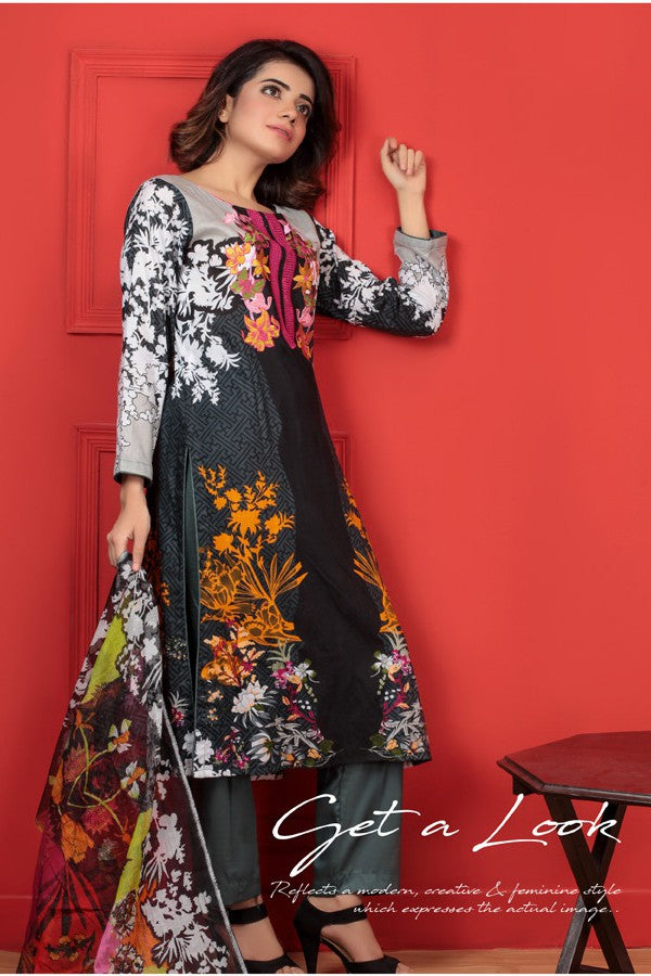 Needle Creation Elegant Embroidered Lawn Collection '17 – 2B