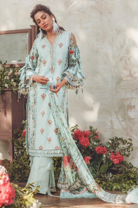 Noor by Saadia Asad Luxury Lawn 2018 – 02 Blue Breeze