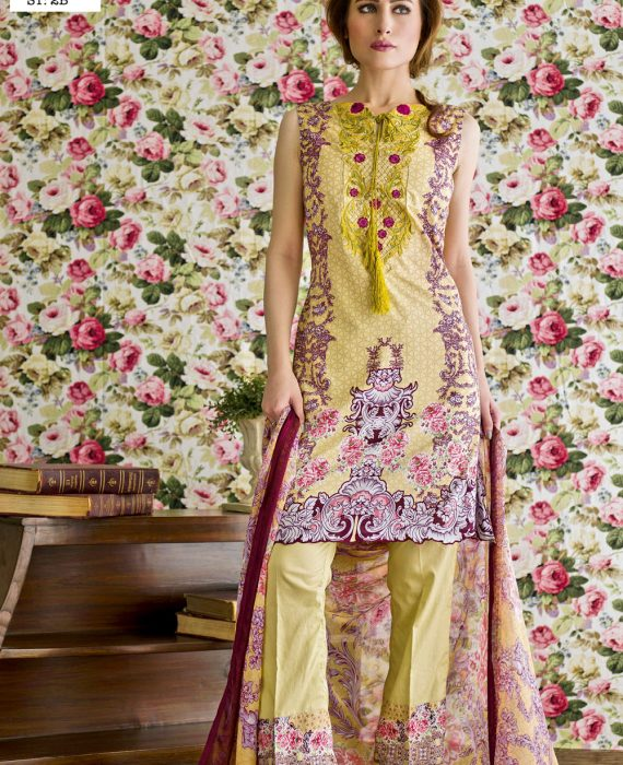 Feminine Embroidered Lawn Collection 2017 – 2B