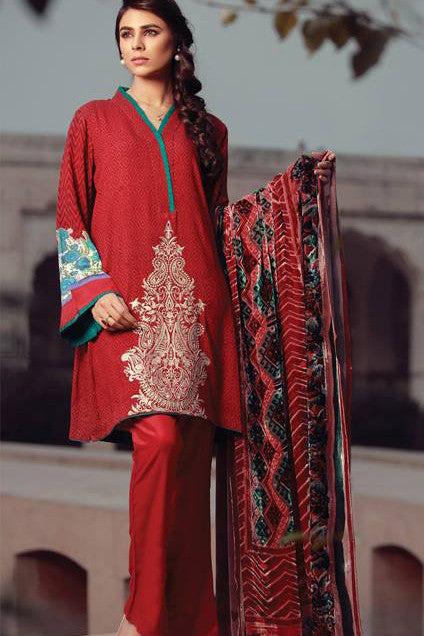 Sana & Samia Embroidered Linen Plachi Collection by Lala – Rose Bloom - 2B - YourLibaas  - 1