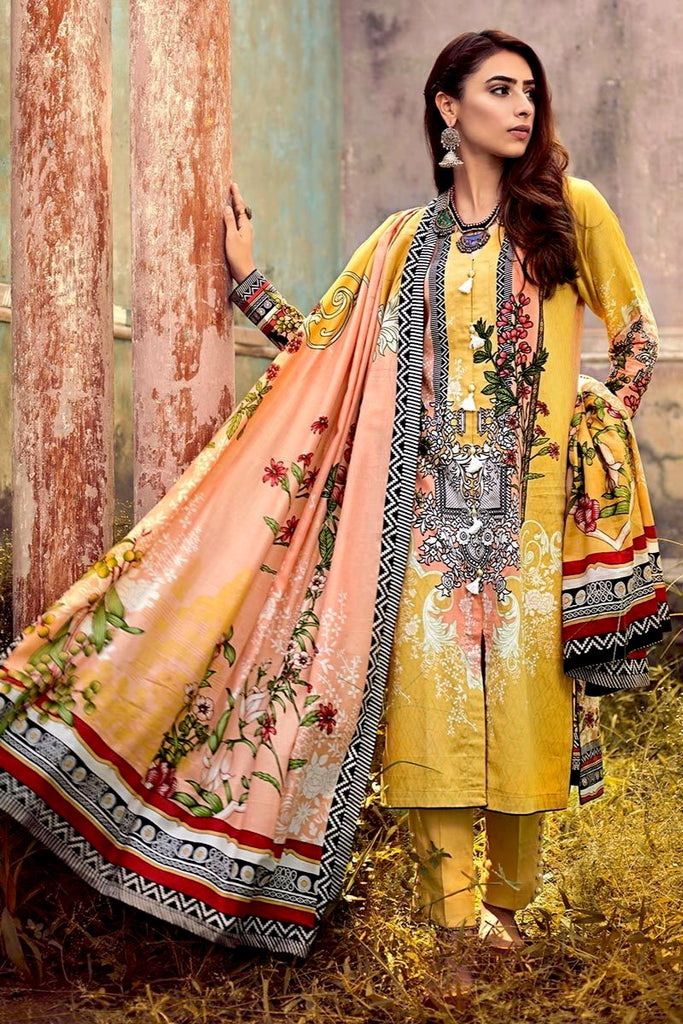 Gul Ahmed Winter Collection – 3 PC Corduroy suit With Cotton Net Dupatta CD-42