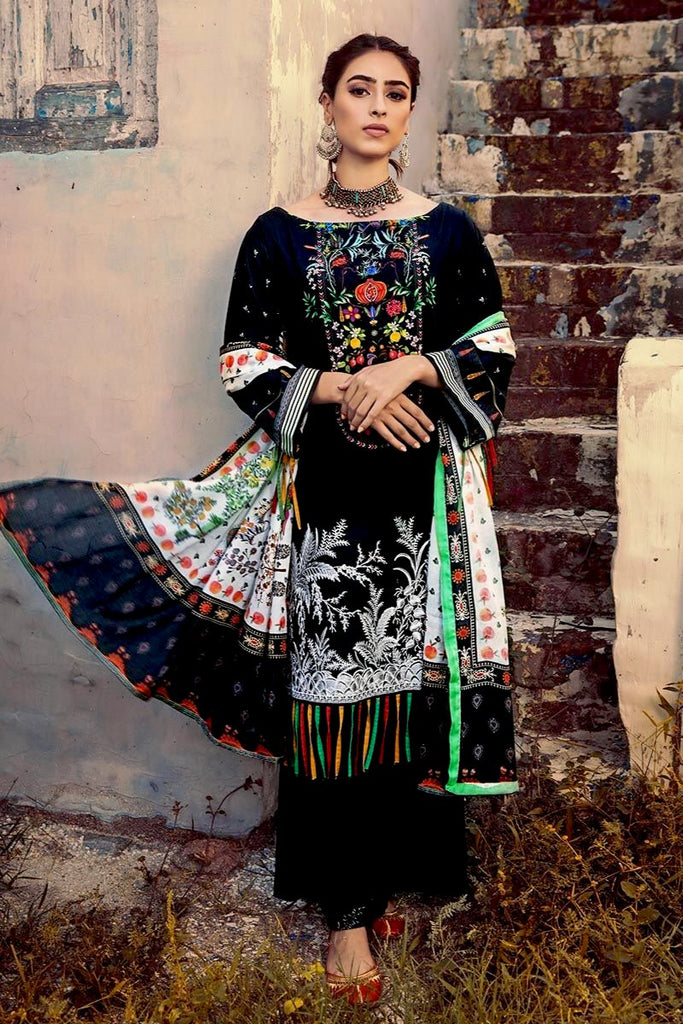 Gul Ahmed Winter Collection – 3 PC Embroidered Suit with Cotton Net Dupatta CD-40