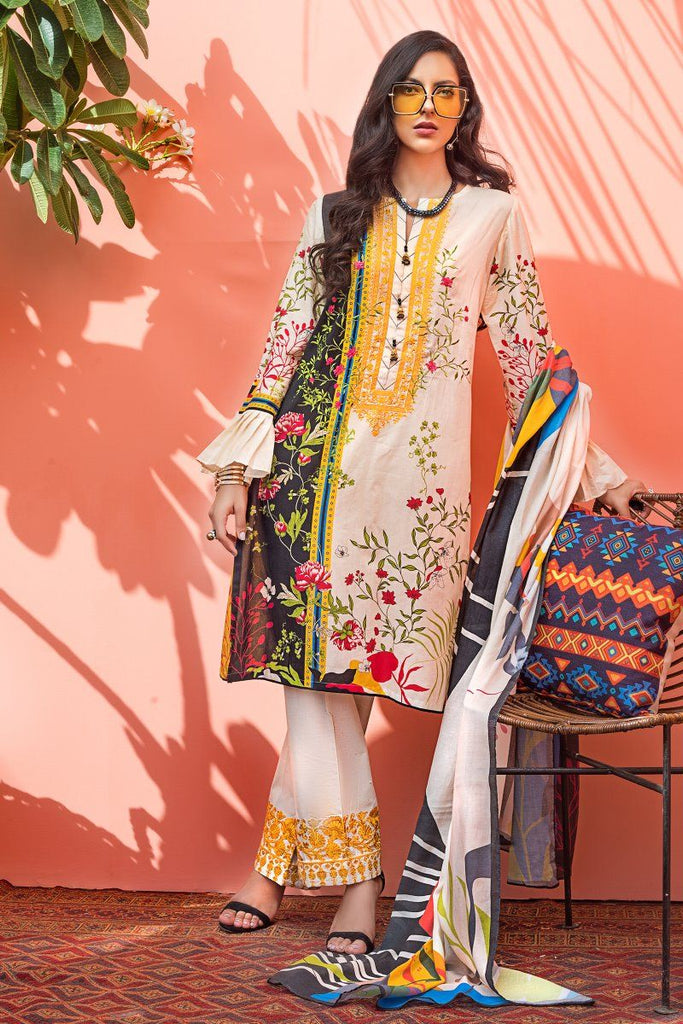 Gul Ahmed Mid Summer Cambric Collection – 3 PC Unstitched Embroidered Suit with Cotton Net Dupatta CN-18