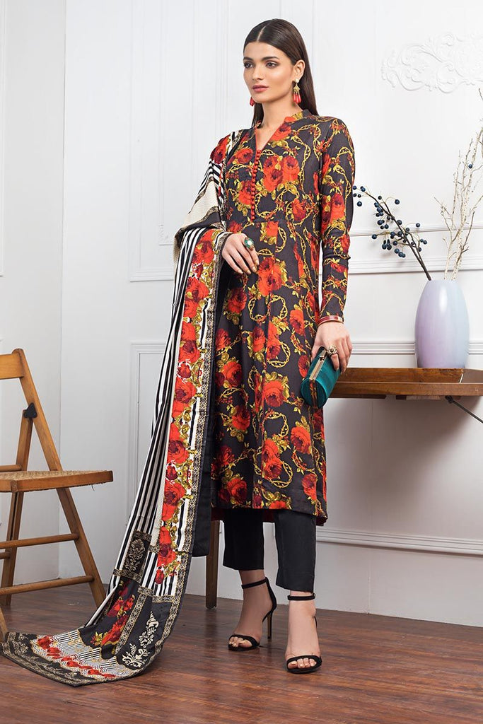 Gul Ahmed Winter Collection – 3 PC Digital Printed Twill Linen Suit LT-16