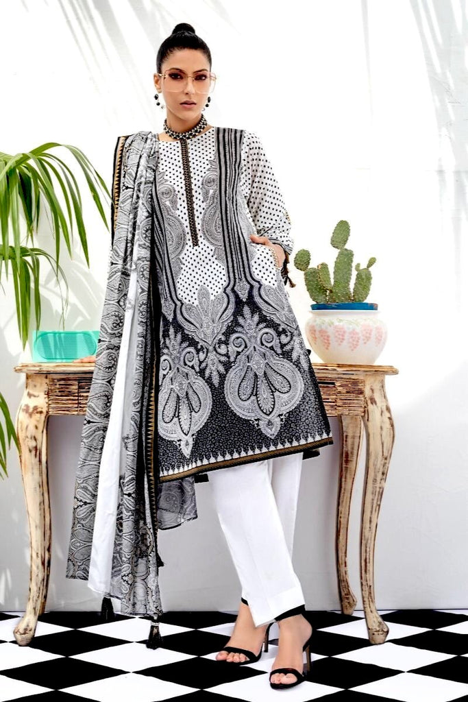 Gul Ahmed Summer Black & White Collection – 3 PC Unstitched Lawn Suit B-73