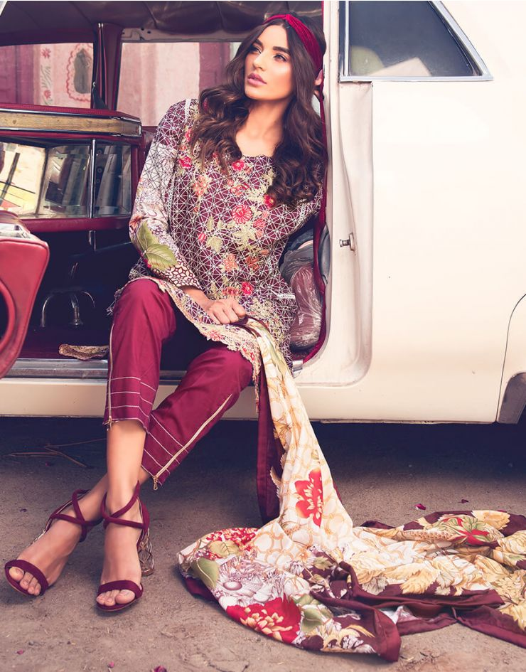 Rang Rasiya Rouge Lawn Collection 2018 – 3001 B