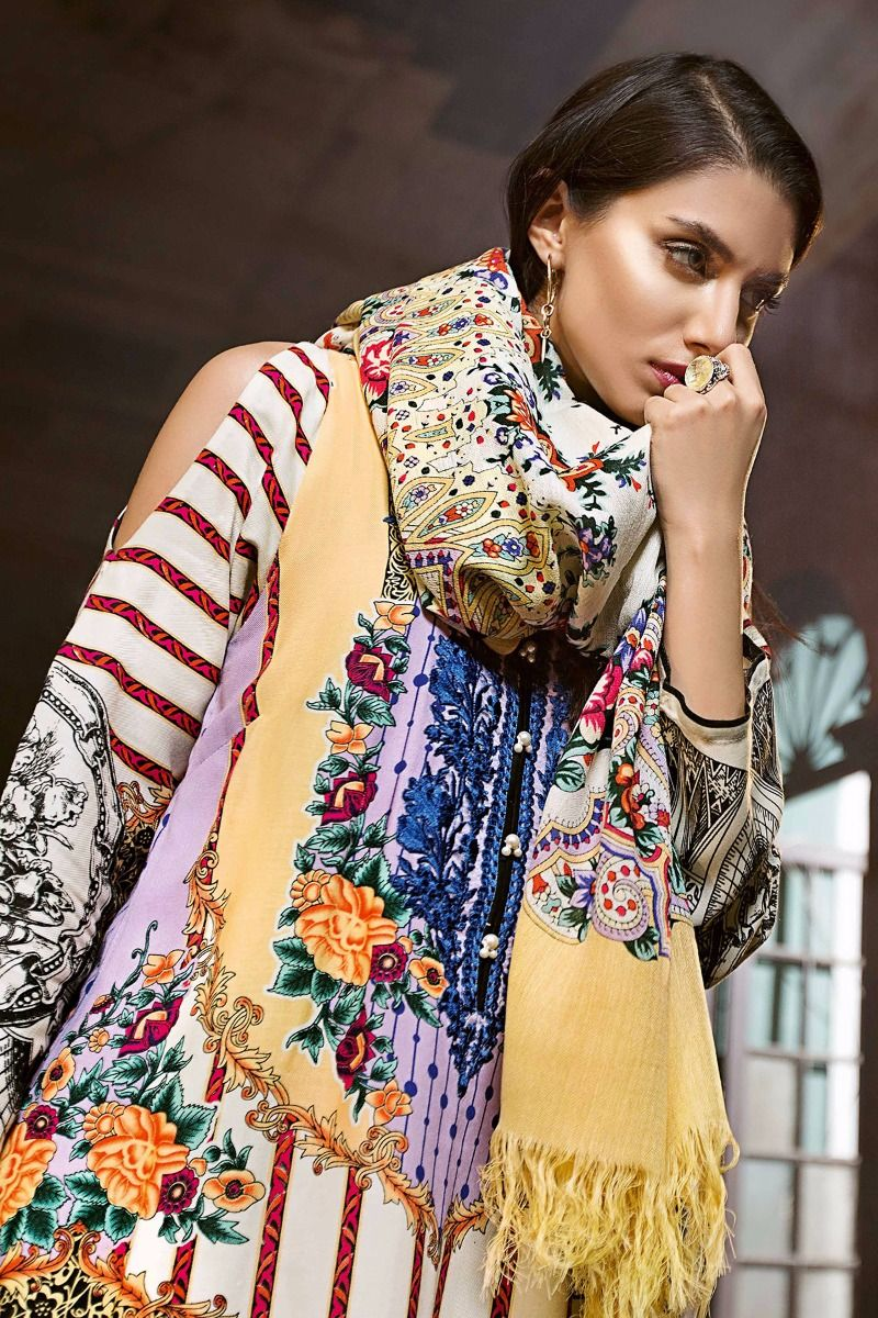 f8d8c02265 21% OFF Sold Out Gul Ahmed Winter 2017 – Cream 3 Pc Silk Woolen SW-30