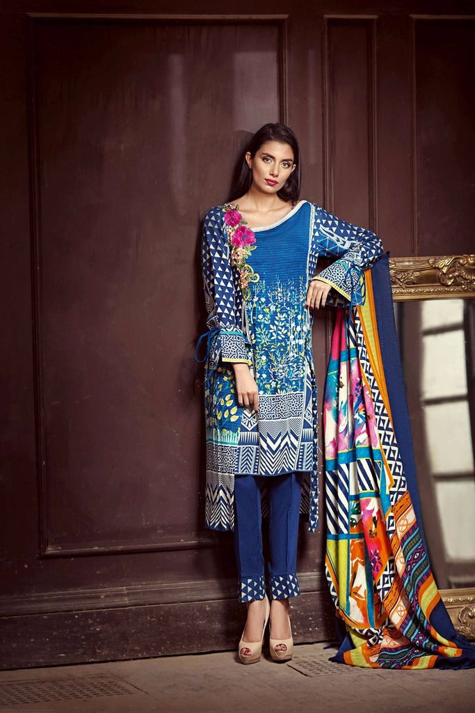 Gul Ahmed Winter 2017 – Blue 3 Pc Silk Woolen SW-33