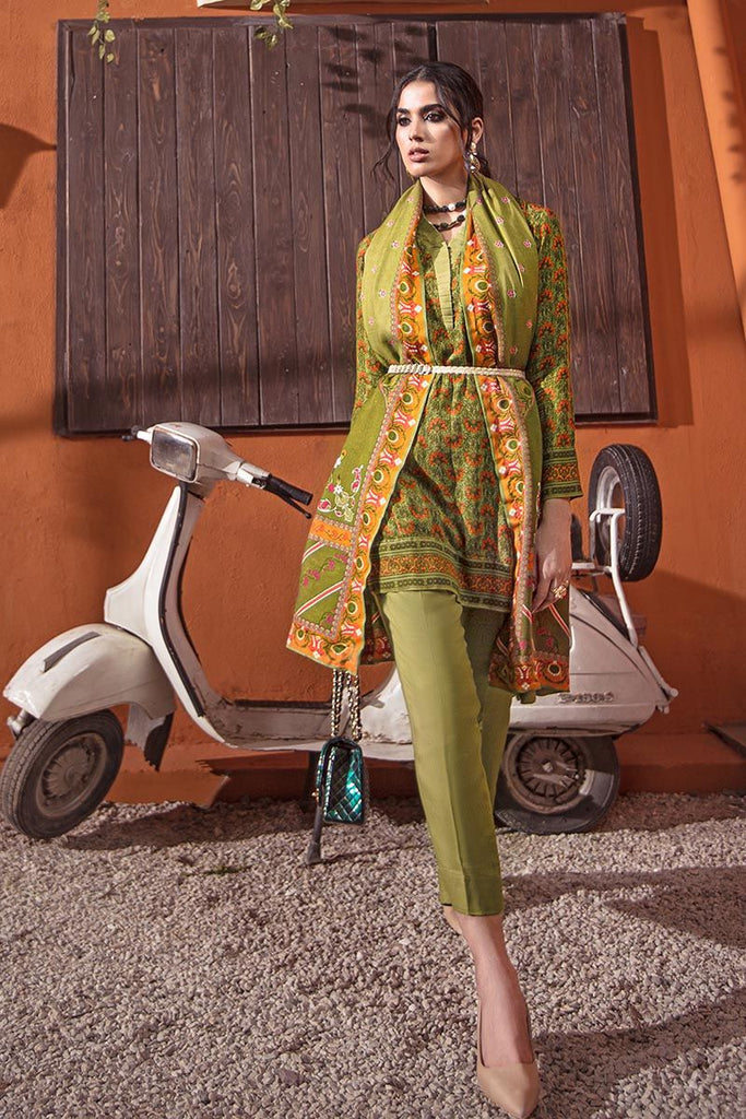 Gul Ahmed Winter Collection – 3 PC Twill Linen Suit with Pashmina Shawl AP-36