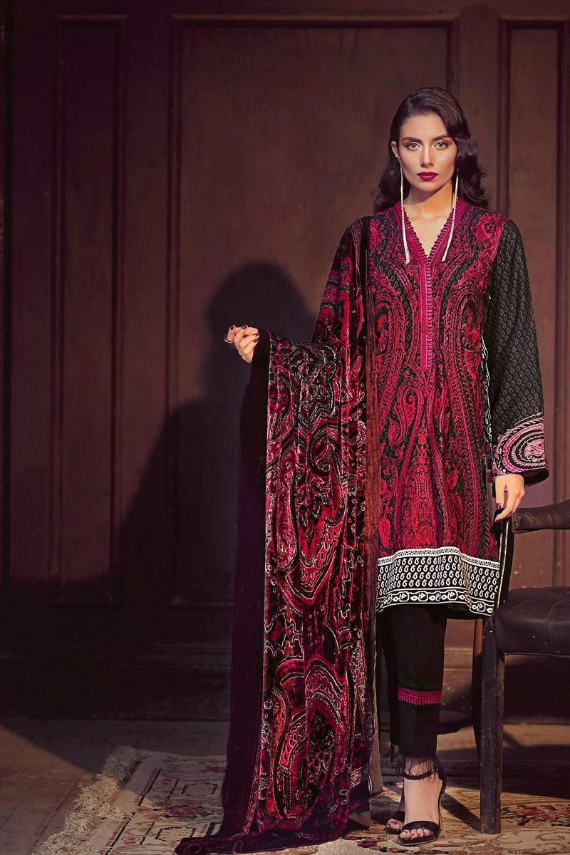 a8345ada63 18% OFF Sold Out Gul Ahmed Winter 2017 – Black 3 Pc Silk Velvet VL-61