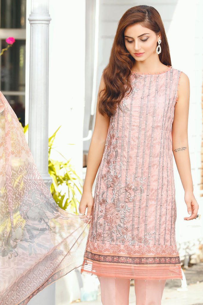 Baroque Embroidered Chantelle Lawn Collection Vol-1 – Luxe Pink