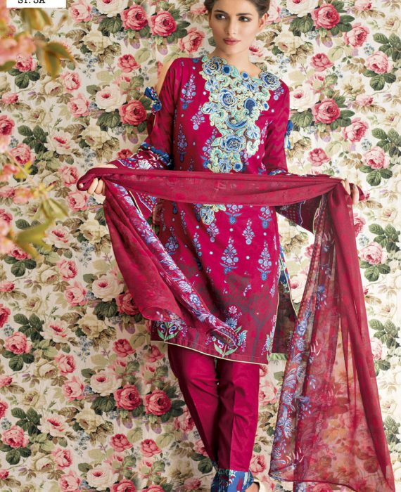 Feminine Embroidered Lawn Collection 2017 – 3A