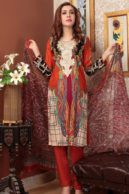 Needle Creation Elegant Embroidered Lawn Collection '17 – 3A