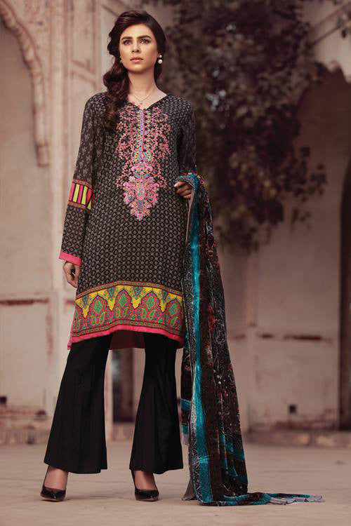 Sana & Samia Embroidered Linen Plachi Collection by Lala – Charcoal Black - 3B - YourLibaas  - 1