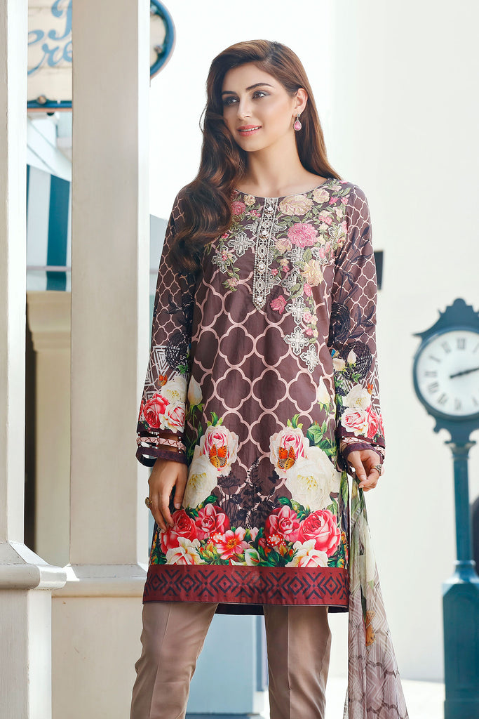Baroque Embroidered Chantelle Lawn Collection Vol-1 – Sunset Galore