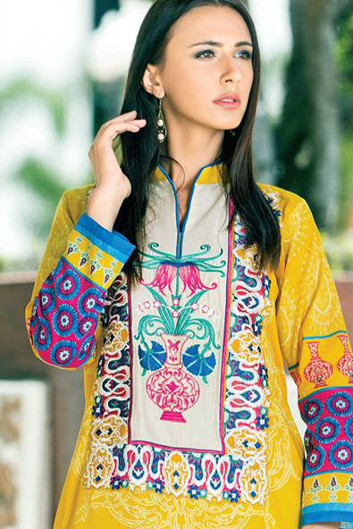 Zanisha Embroidered Kurti 2016 – 4B - YourLibaas  - 1