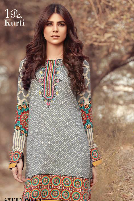 Sana & Samia Embroidered Linen Plachi Collection by Lala – Dusty Blue - 4A - YourLibaas  - 1
