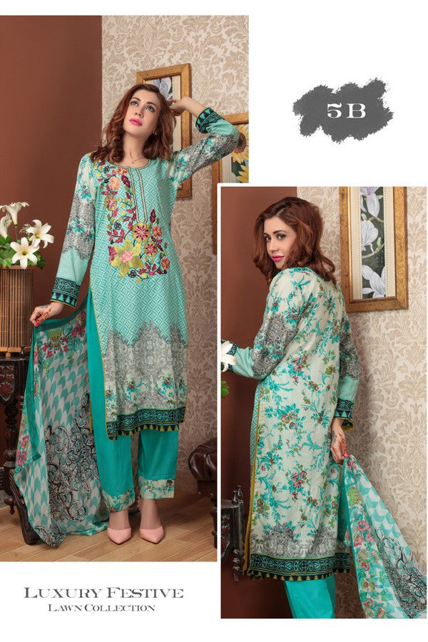 Needle Creation Elegant Embroidered Lawn Collection '17 – 5B
