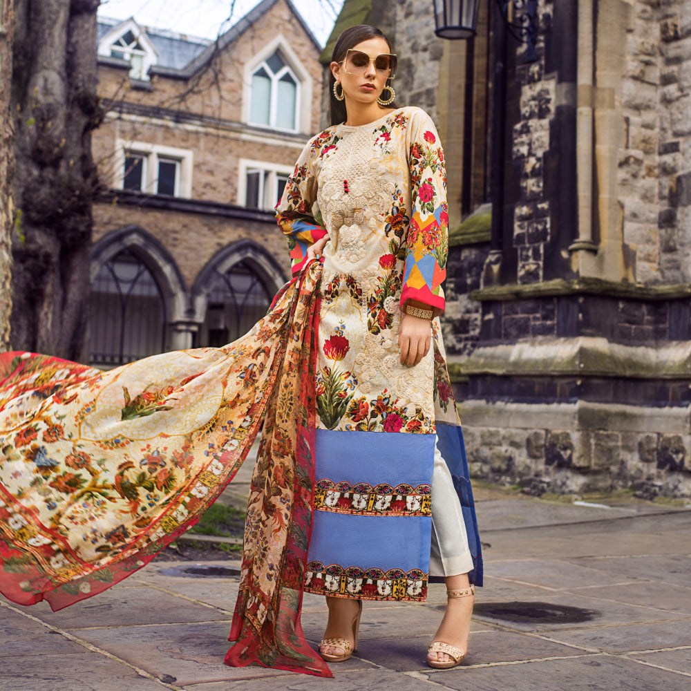 Honey Waqar Luxury Lawn Collection – Botanical Orchestra 5A