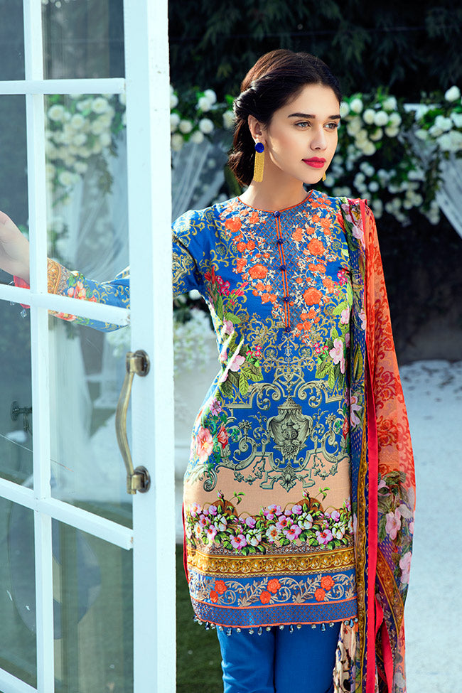 Gulaal Lawn Collection Vol-1 2018 – GL-05 Dark Blue