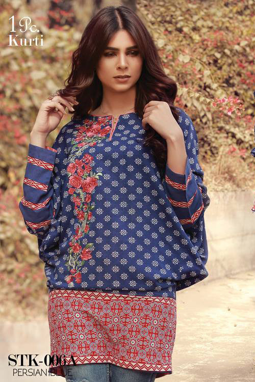 Sana & Samia Embroidered Linen Plachi Collection by Lala – Persian Blue - 6A - YourLibaas  - 1