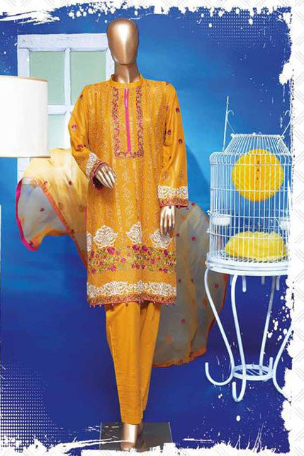 HZ Textiles Regalia Swiss Embroidered Festive Eid Collection – Design 6 Mustard